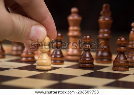 Chess board and figures - stock photo
