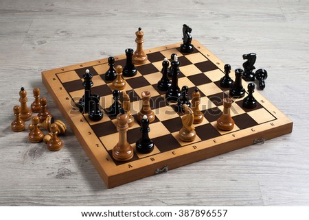 Chess board battle black and white - stock photo
