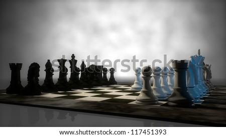 chess board in fog - stock photo