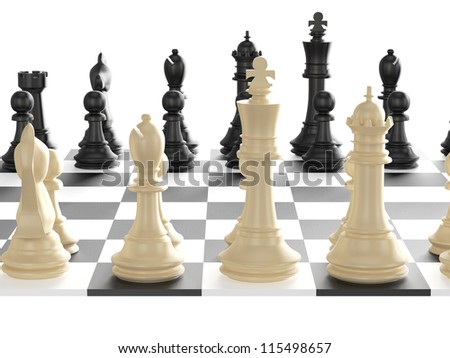 Chess board with starting positions aligned chess pieces, back view, isolated on white background. - stock photo