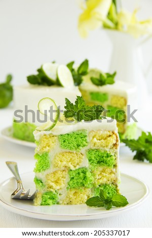 Chess cake with pistachios and lime. - stock photo