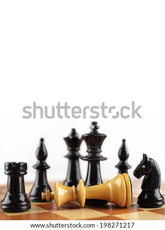 Chess concept. Checkmate white king. Background with copyspace. - stock photo
