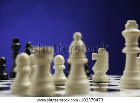 Chess concept. focused on horse. - stock photo