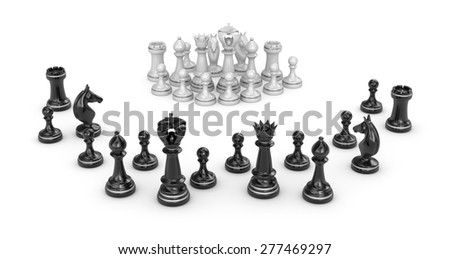 Chess concept - white team under attack - stock photo