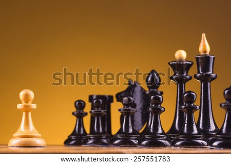Chess face to face. Copy space for text - stock photo