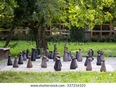 Chess field in a public garden - stock photo