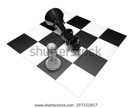 Chess fight black and white 3d illustration. Courage and power concept. - stock photo