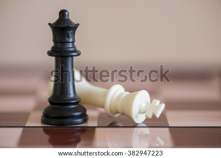 chess game chessboard battle win king victory - stock photo