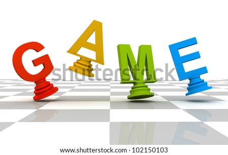 Chess Game 3D font multicolor - stock photo
