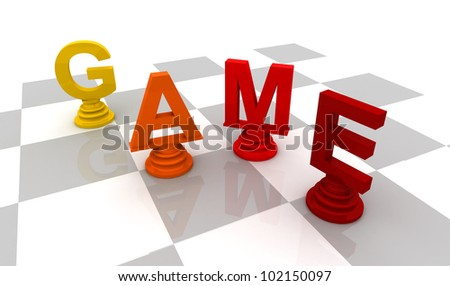 Chess Game 3D font red color - stock photo