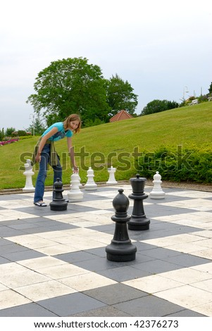 Chess in Lutjenburg (Germany) at Bismark-tower - stock photo