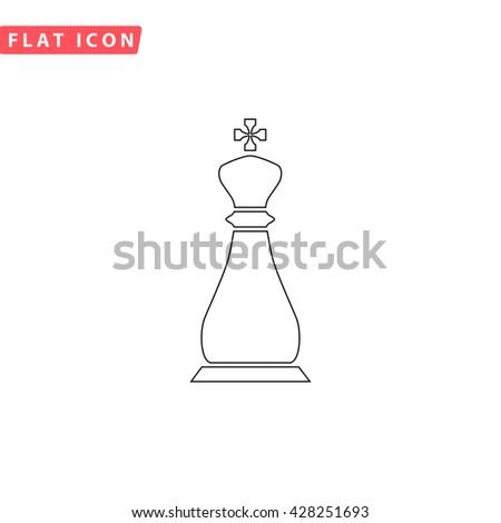 Chess king. Black outline simple pictogram on white. Line icon - stock photo