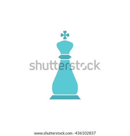 Chess king. Color simple flat icon on white background - stock photo