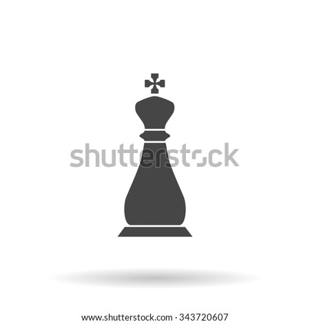 Chess king. Flat icon on grey background with shadow - stock photo
