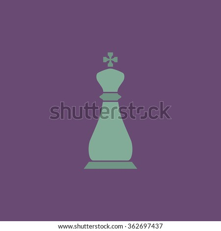 Chess king. Simple flat color icon on colorful background - stock photo