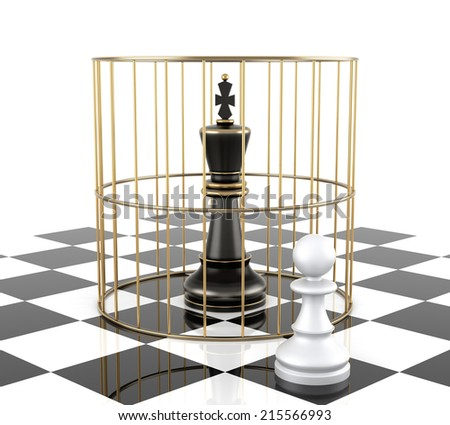 Chess King to Protect. Isolated On White. Three Dimensional Rendering - stock photo