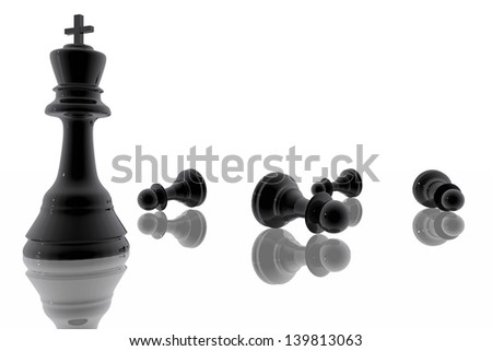 Chess king victory over the pawns - stock photo