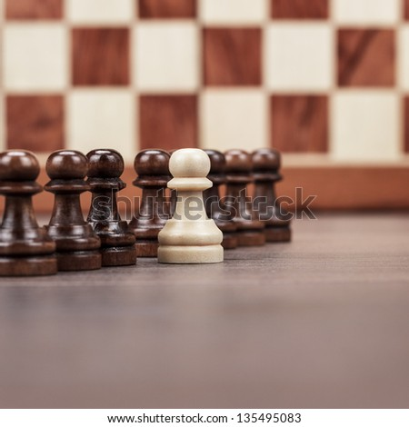 chess leadership concept on the chessboard background - stock photo