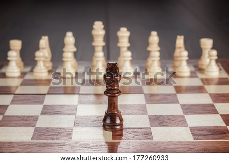 chess leadership conception on the wooden chessboard - stock photo