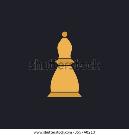 Chess officer. Color flat icon on black background - stock photo