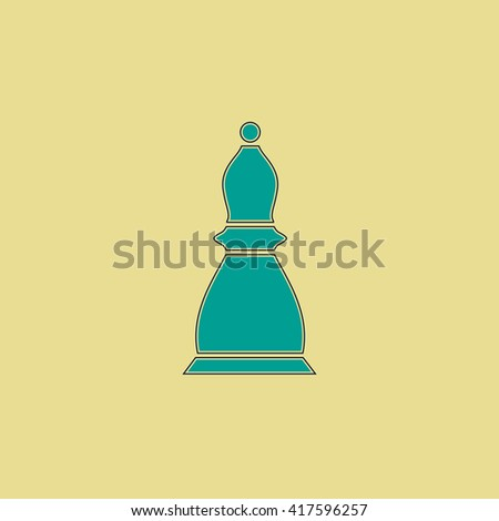 Chess officer. Grren simple flat symbol with black stroke over yellow background - stock photo