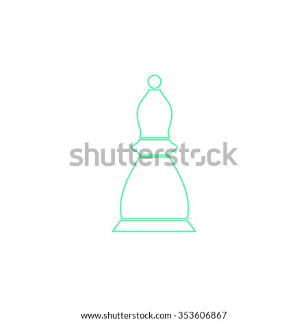 Chess officer. Outline symbol on white background. Simple line icon - stock photo