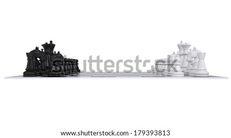 Chess on the chessboard. Isolated render on a white background - stock photo