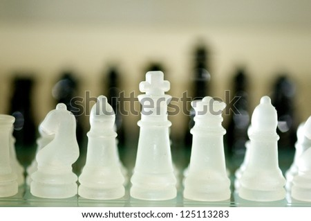 Chess on the table-Game-black and White Chess - stock photo