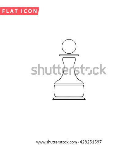 Chess Pawn. Black outline simple pictogram on white. Line icon - stock photo