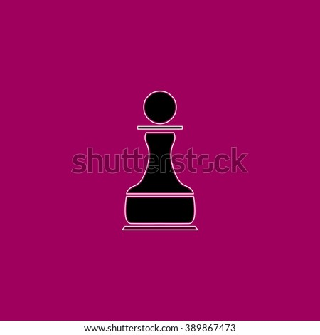 Chess Pawn. Black simple flat icon with white stroke - stock photo