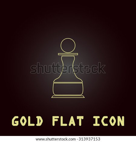 Chess Pawn. Outline gold flat pictogram on dark background with simple text. Illustration trend icon - stock photo