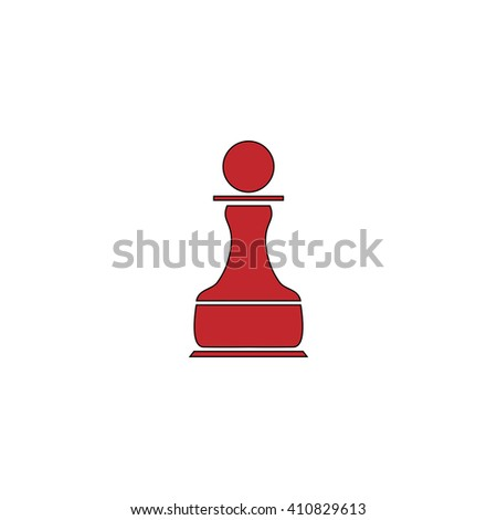 Chess Pawn Simple red icon on white background. Flat pictogram - stock photo