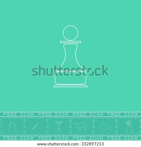 Chess Pawn. White outline flat icon and bonus symbol. Simple illustration pictogram on green background - stock photo