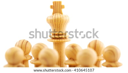 Chess pawns - business leadership  concept - stock photo