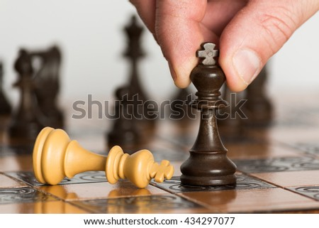 Chess photographed with chessboard - stock photo
