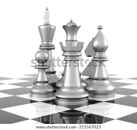 Chess Piece, isolated on white background. 3D Rendering - stock photo