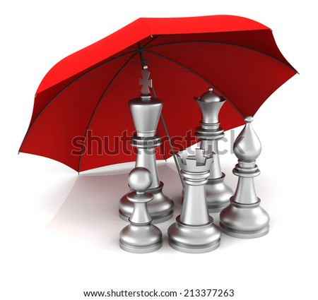 Chess Piece with Red Umbrella. 3D Rendering - stock photo