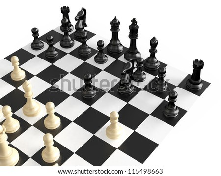 Chess pieces in a war  on chess board, isolated on white background. - stock photo