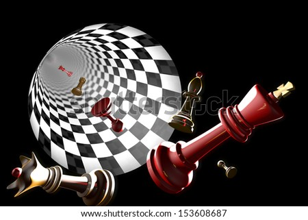 Chess pieces on a black background (3D-image). - stock photo