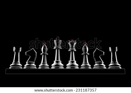 Chess pieces on a black background (3d image of a graphic style). - stock photo