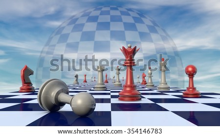 Chess pieces on a chessboard long (fantastic background). - stock photo