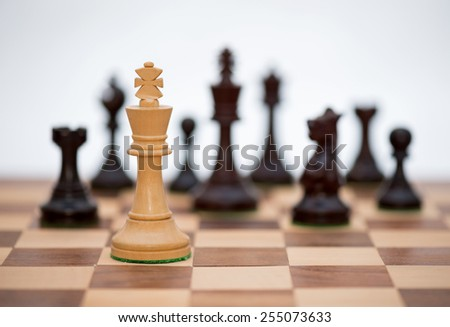Chess pieces on board (focus on white king)) - stock photo