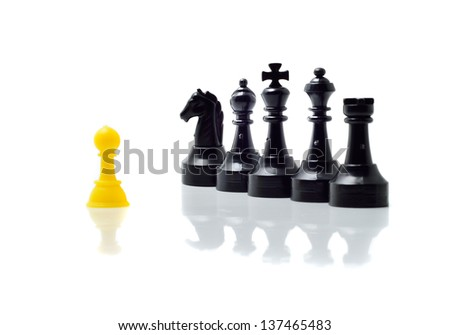 Chess pieces on white background - stock photo