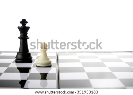 Chess pieces, rook an king. Strategy and competition conceptual. - stock photo