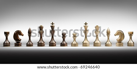 Chess pieces set a complete set of chess pieces  3d rende - stock photo