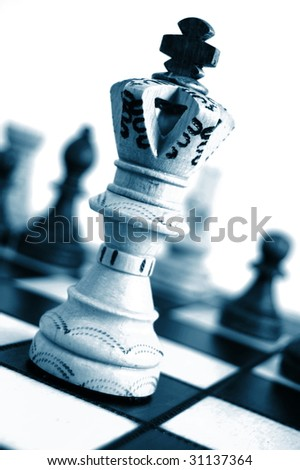 chess pieces showing concept for competition in business - stock photo