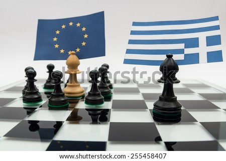 Chess pieces with the flags of Europe and Greece - stock photo
