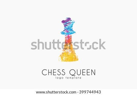 Chess queen logo. Queen logo. Chess logo. Creative logo. - stock photo
