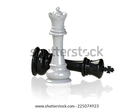 chess - queen wins the king, 3d render, isolated on white - stock photo