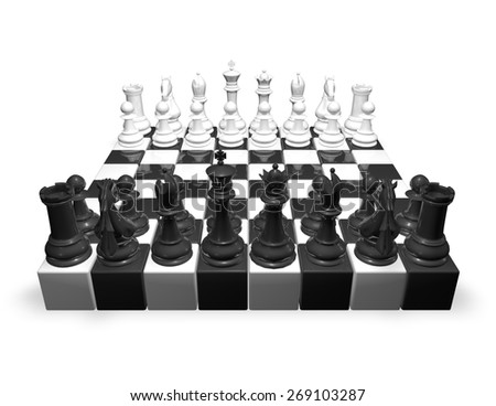 Chess set, 3d render illustration isolated on white. - stock photo